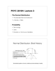 Lecture 3 - Standard Scores and Probability
