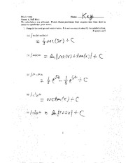 Exam A Fall 2011 Solutions on Calculus