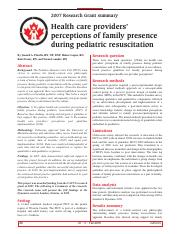 health care providers' perceptions of family presence during pediatric resuscitation.pdf