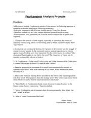 Frankenstein essay question... for my college lit class?
