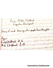 Developmental Psychology - Early & Middle Childhood Part I Lecture Notes