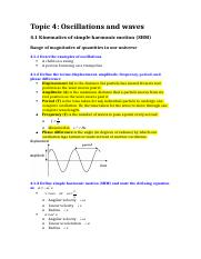 Topic 4; Oscillations and waves
