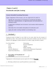 CMA_Topic 56_Overheads and Job Costing_Handout