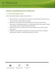 Behaviour and Social Theories and constructs with Eg