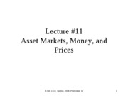 Asset Markets, Money, and Prices