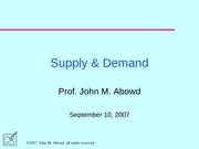 lecture 5. Supply & Demand