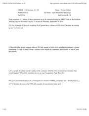 CHEM 1314 Fall 2014 Problem Set #2