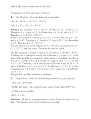 Assignment #1- Sets and Logic. Solutions