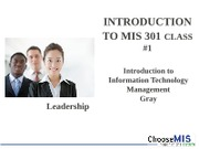 Class 01 - Introduction MIS 301