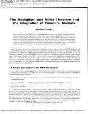 Resource - The Modigliani and Miller Theorem and the Integration of Financial Markets.pdf