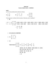 OPRE 3333 Matrices Exam 1 Practice Solutions
