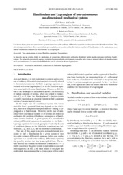 [Article] Hamiltonians and Lagrangians of non-autonomous one-dimensional mechanical system