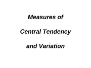 PowerPoint slides on central tendency, dispersion, and probability for 012208