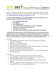 Personal SWOT Analysis - Assignment Handout