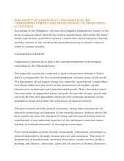 THE IMPACT OF DEPENDENCY THEORIES FOR THE UNDERDEVELOPMENT AND DEVELOPMENT OF DEVELOPING ECONOMIES.d