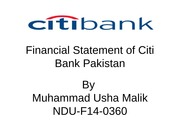 Financial Statement of Citi Bank Pakistan