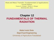 Chapter 12 - Fundamentals of Thermal Radiation
