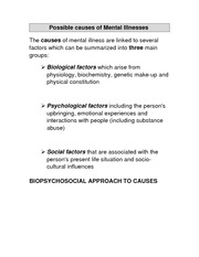 Possible Causes of Mental Illnesses