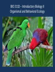 Organismal and Behavioral Ecology 10th