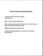 History of Eastern Kentucky University