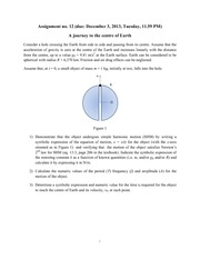 Physics- Assignment 12- Journey to the Centre of the Earth