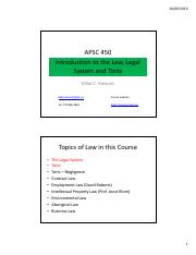 APSC 450 Lecture 3 - Powerpoint - Intro to Legal System and Torts