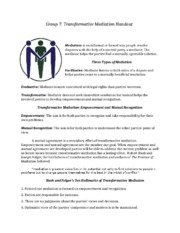 Transformative Mediation Handout