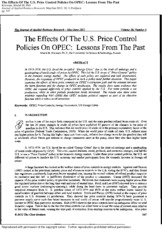 The Effects Of The U.S. Price Control Policies On OPEC_ Lessons From The Past