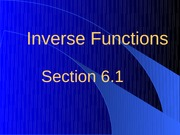 6.1 Inverse Functions