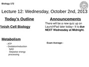 Lecture 12: Cell Biology