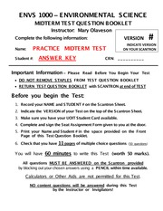 ENVS 1000-F2013-Midterm Practice Questions with Answers