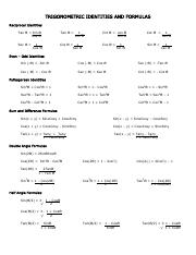 Trig Identities and  Formulas