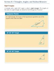 Section 8.1 Triangles, Angles, and Radian Measure