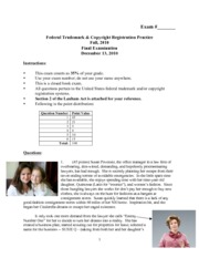 Federal Trademark and Copyright Registration Practice_Final Exam 2