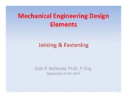 Lecture 6-8 - Joining and Fastening - Sept 24, 2014