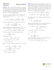 PHYSICS 21 Fall 2014 Homework 20 Solutions