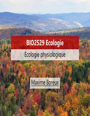 Lecture 9 Ecologie physiologique