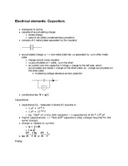 Electrical elements - Capacitors