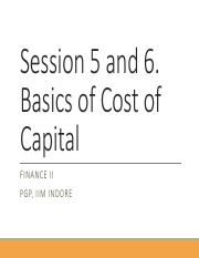 Session 5-6. Basics of Cost of Capital