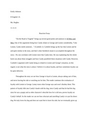 of mice and men documents course hero of mice and men reaction essay example
