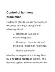 Control of hormone production