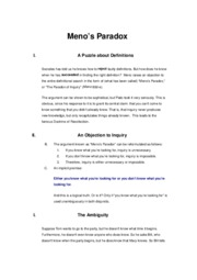 """a overview of menos the paradox of inquiry Abstract: in plato's """"meno"""", the eponymous character suggests that inquiry is impossible the argument he constructs for this has come to be known as """"meno's paradox"""" as a solution to this paradox, socrates proposes his """"theory of recollection"""" this essay proposes that, whilst ."""