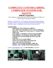 COMPLETE GAMING COMPUTER SYSTEM FOR SALE