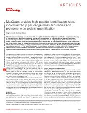 MaxQuant enables high peptide identification rates, individualized p.p.b.-range mass accuracies and