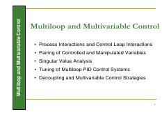 MULTI-LOOP AND MULTI-VARIABLE CONTROL
