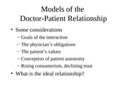 Lecture 10 -- Doctor-Patient Relationship and Cognition