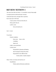 Psychology Review Session  Exam 1 - revised