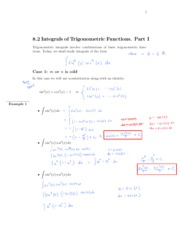 8.2 Integrals of Trig Functions
