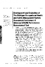 1998 - Development and evaluation of the Michigan Occupational Health and Safety Management System A