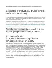 Identification and discussion of impact of social entrepreneurship in the contemporary context.docx
